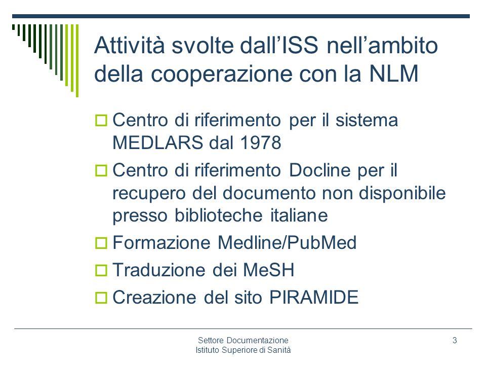 Attività svolte dall'ISS nell'ambito della cooperazione con la NLM