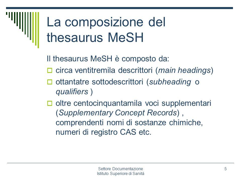 La composizione del thesaurus MeSH