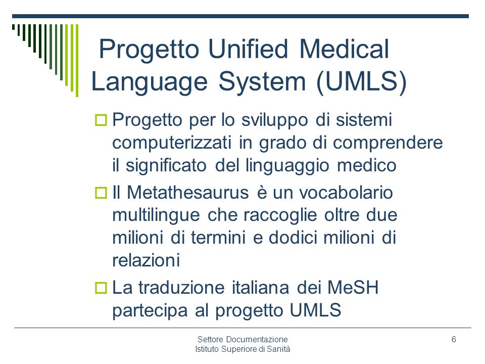 Progetto Unified Medical Language System (UMLS)