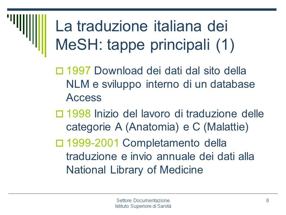 La traduzione italiana dei MeSH: tappe principali (1)