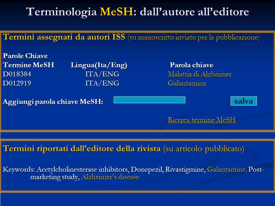 Terminologia MeSH: dall'autore all'editore