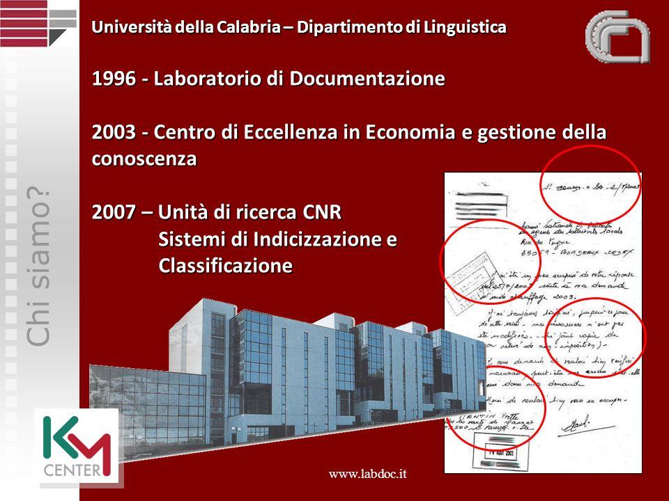 Università della Calabria – Dipartimento di Linguistica 1996 - Laboratorio di Documentazione 2003 - Centro di Eccellenza in Economia e gestione della conoscenza 2007 – Unità di ricerca CNR Sistemi di Indicizzazione e Classificazione
