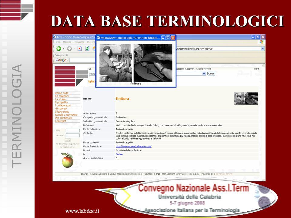 DATA BASE TERMINOLOGICI