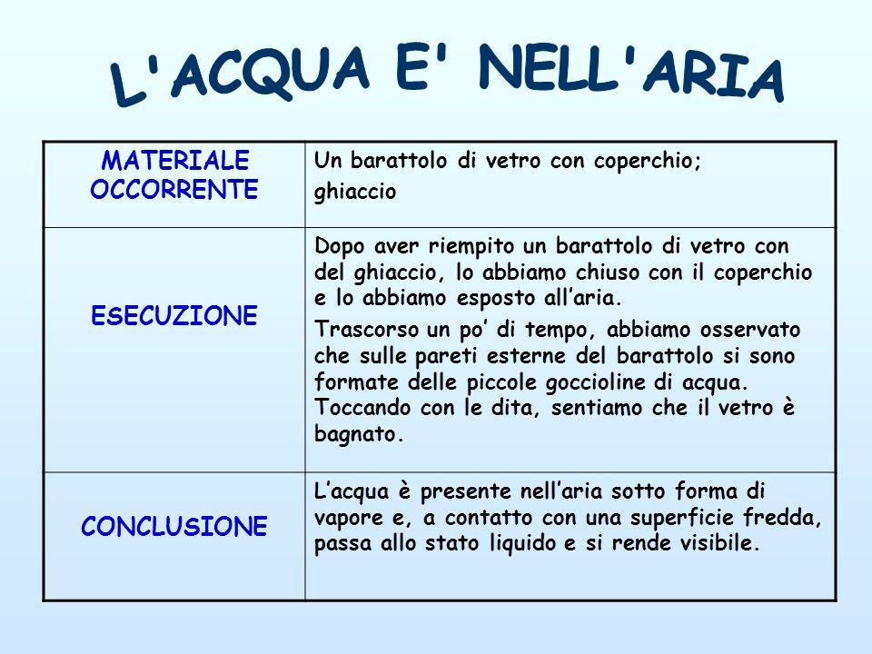 L ACQUA E NELL ARIA MATERIALE OCCORRENTE ESECUZIONE CONCLUSIONE