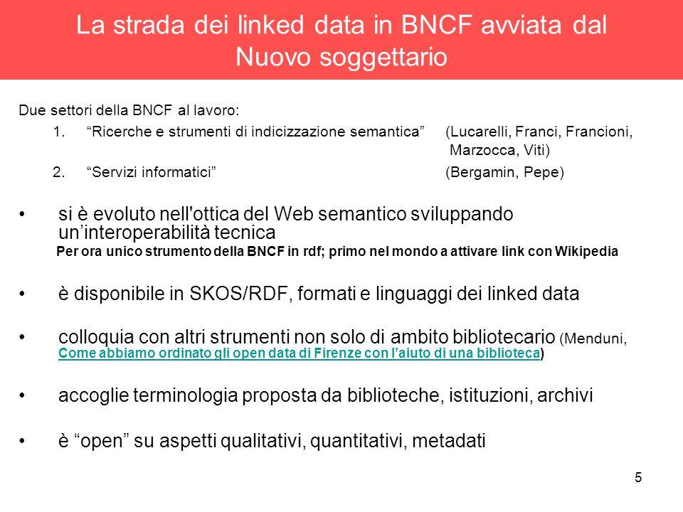 La strada dei linked data in BNCF avviata dal Nuovo soggettario