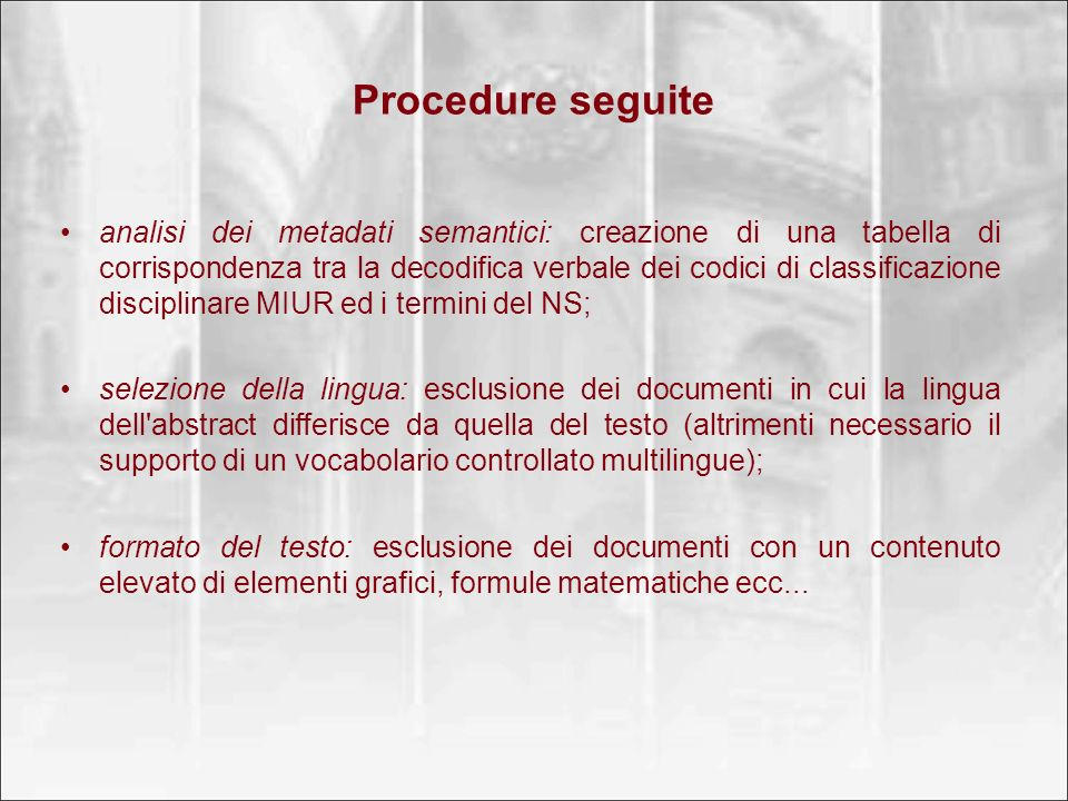 Procedure seguite