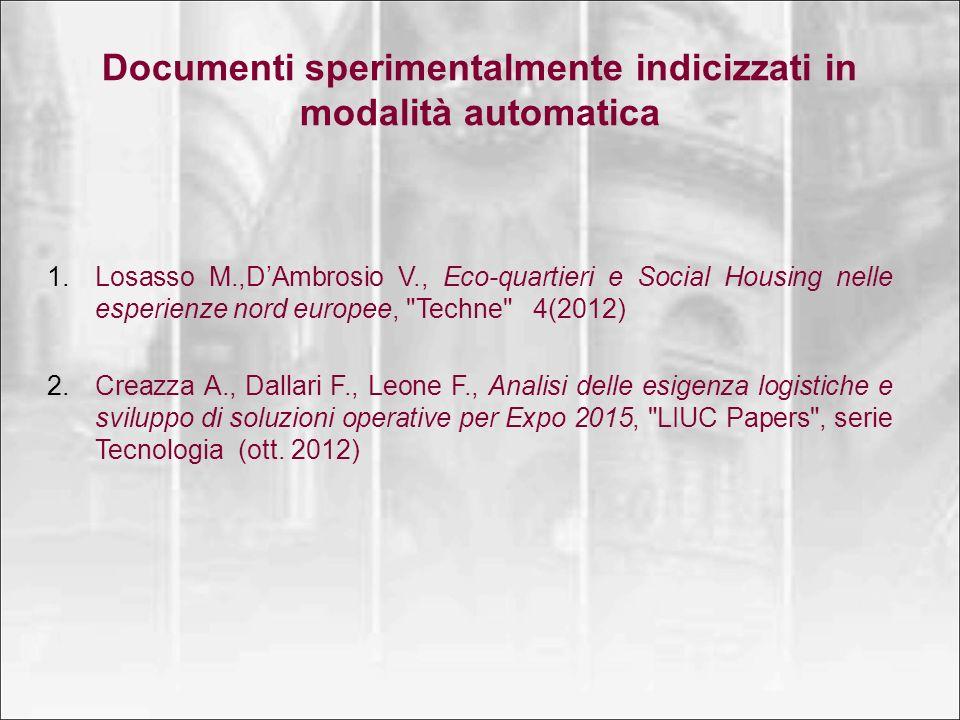 Documenti sperimentalmente indicizzati in modalità automatica
