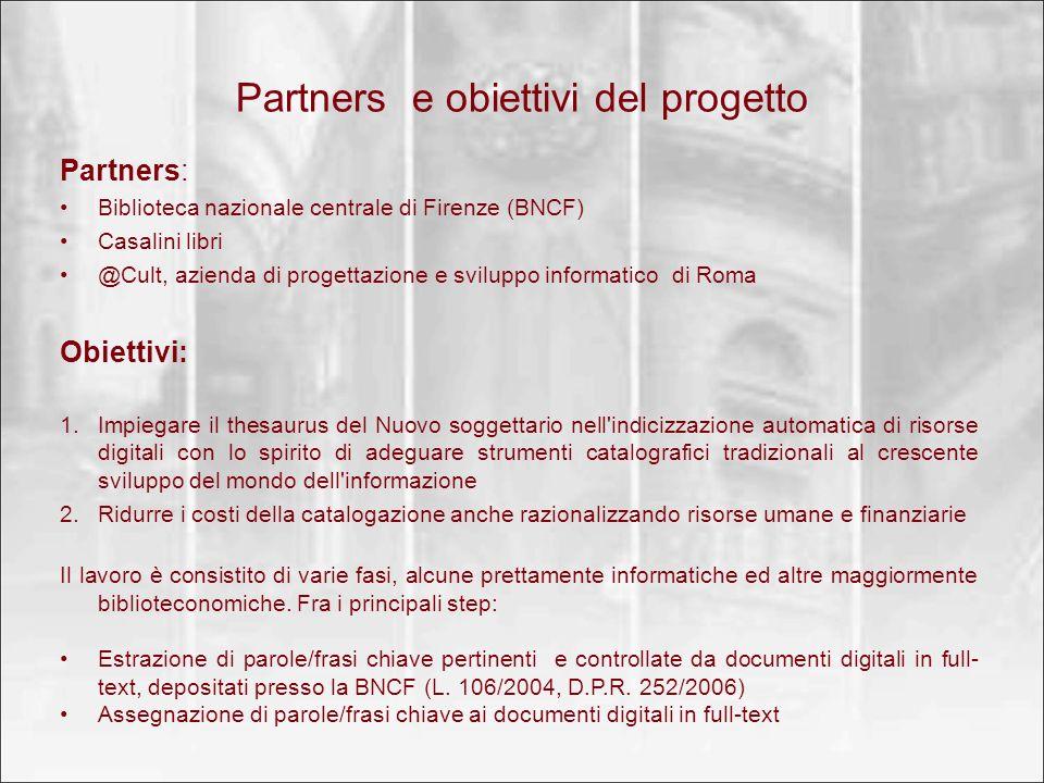 Partners e obiettivi del progetto