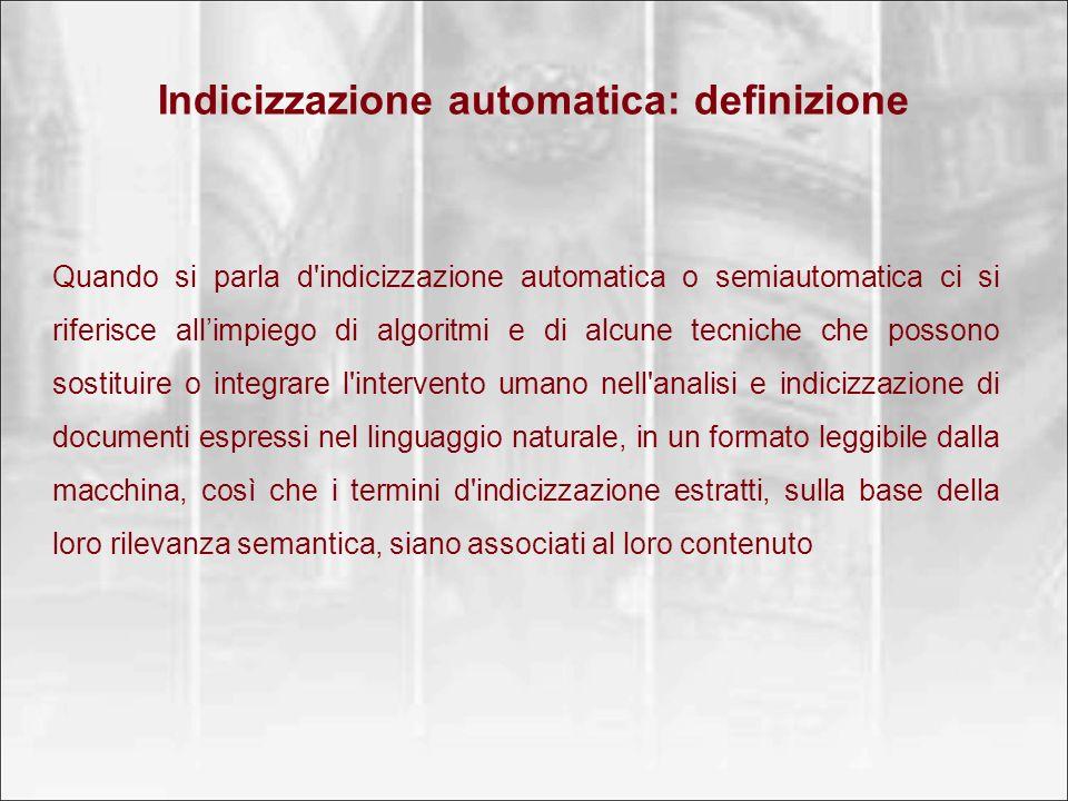 Indicizzazione automatica: definizione