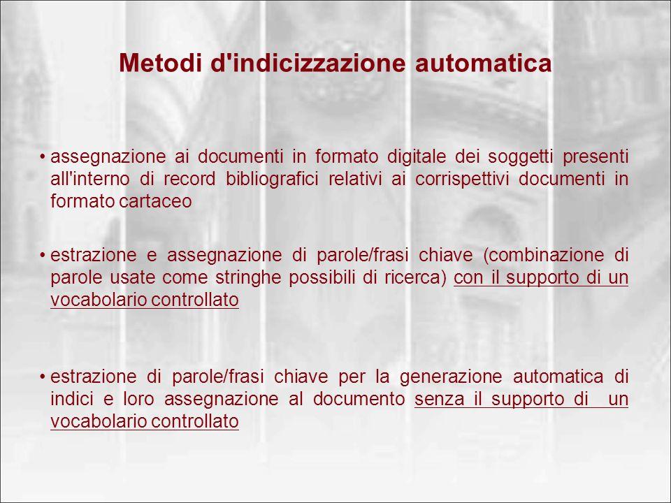 Metodi d indicizzazione automatica
