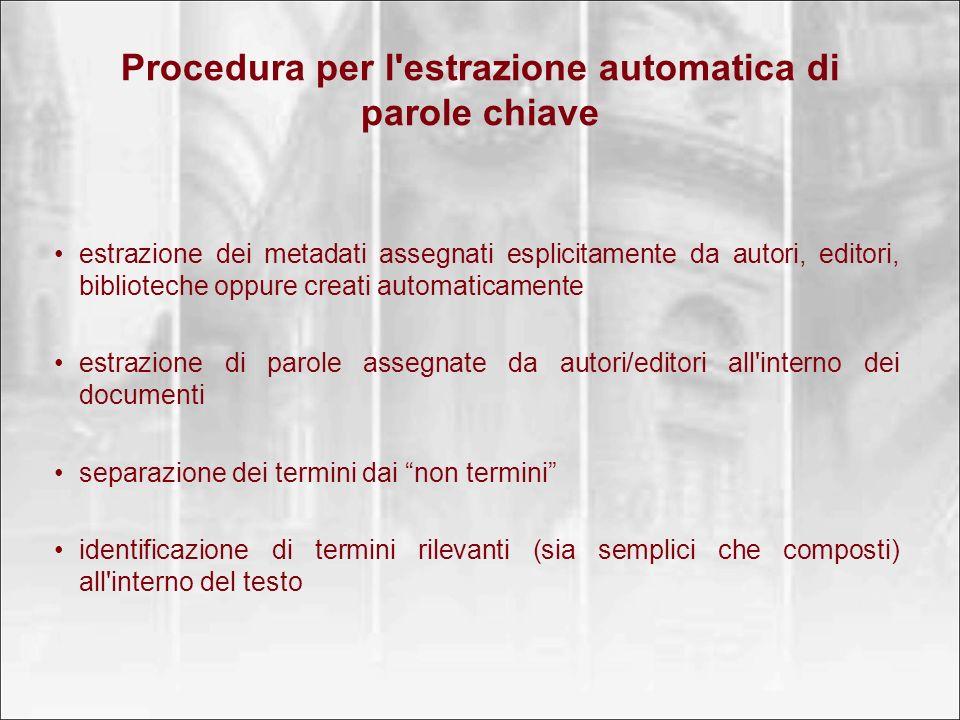Procedura per l estrazione automatica di parole chiave
