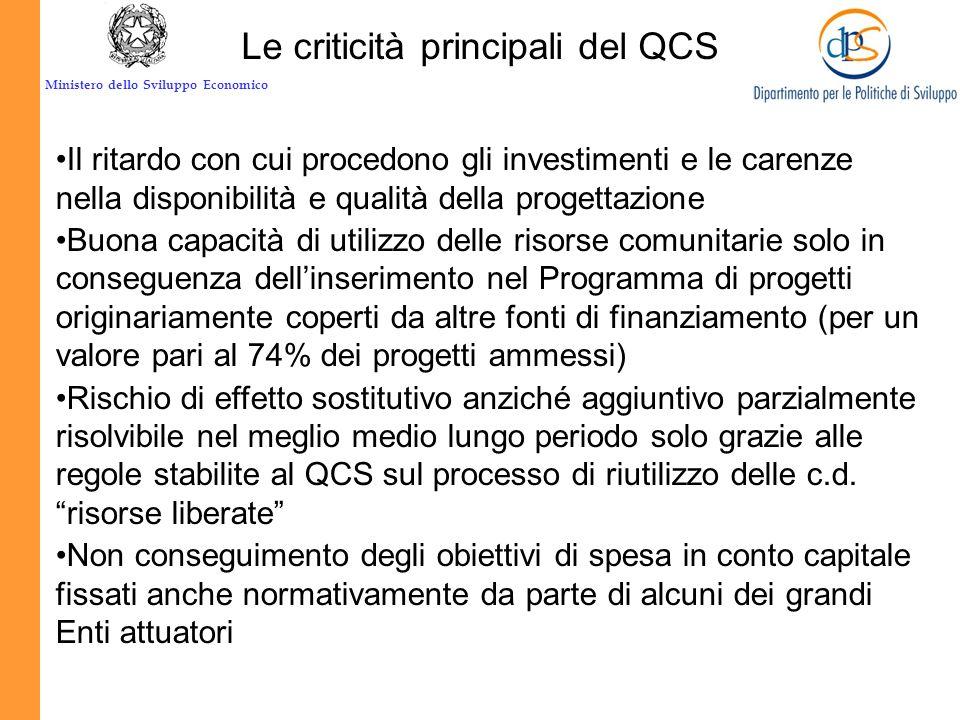 Le criticità principali del QCS