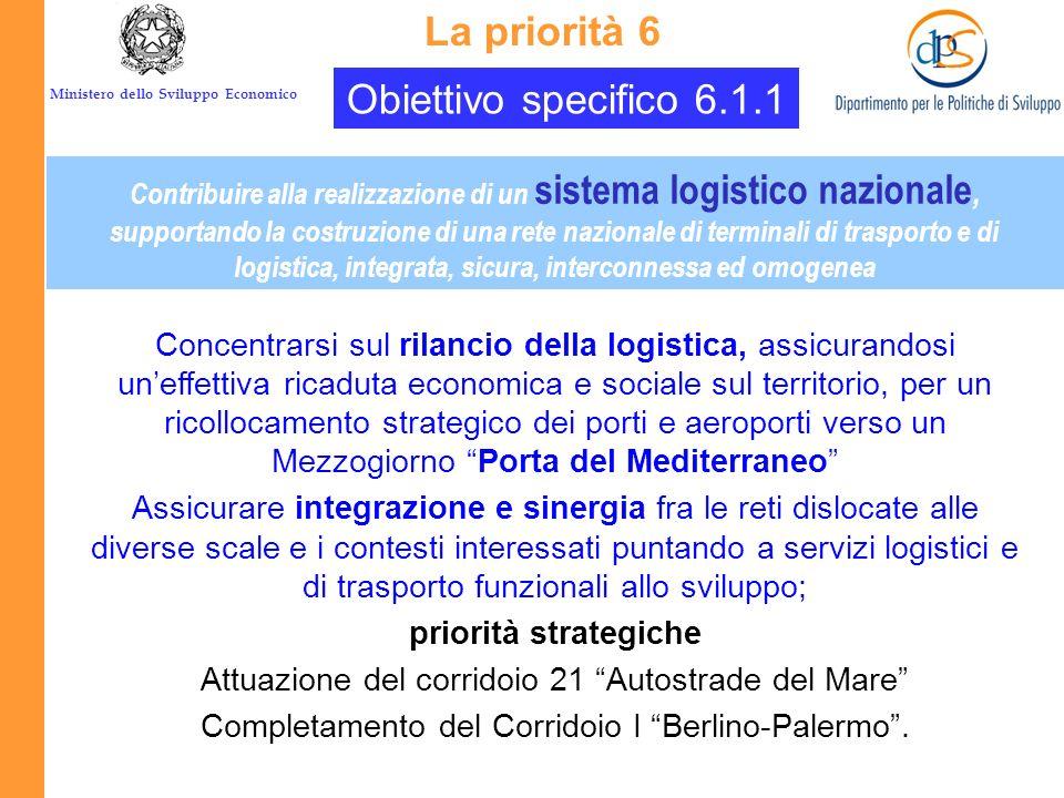 La priorità 6 Obiettivo specifico 6.1.1