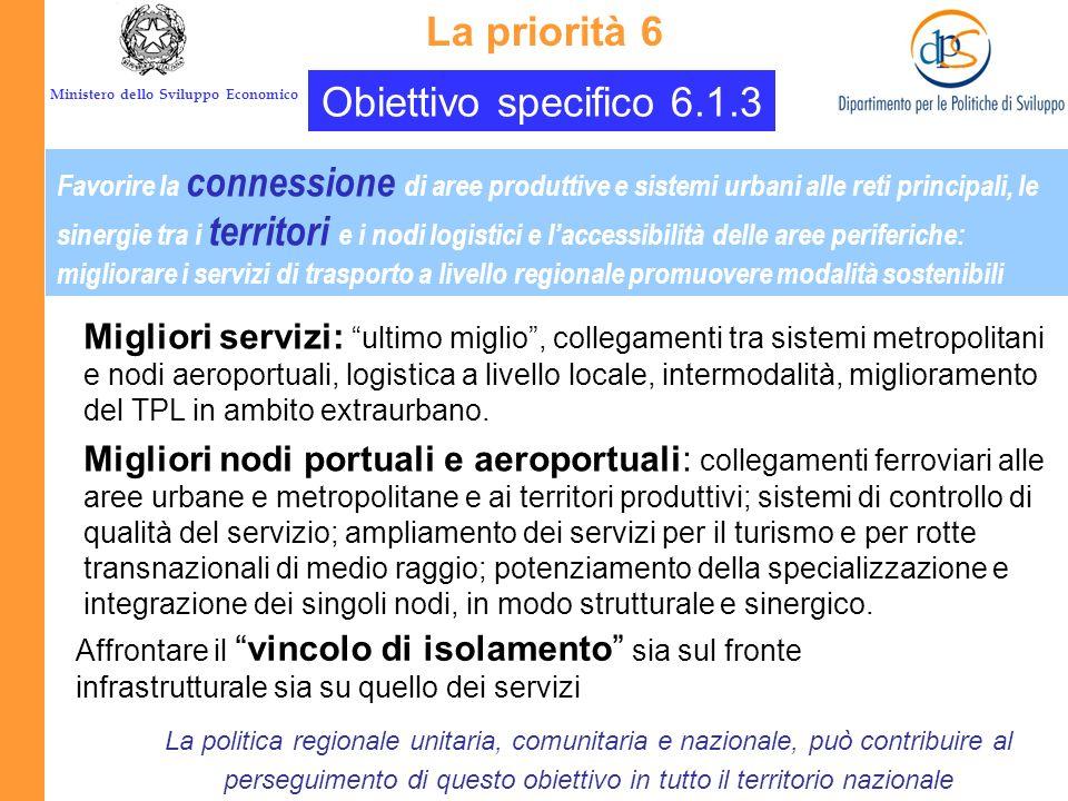 La priorità 6 Obiettivo specifico 6.1.3