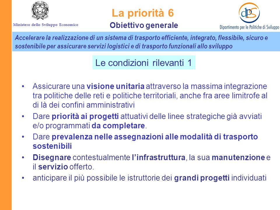 La priorità 6 Le condizioni rilevanti 1 Obiettivo generale