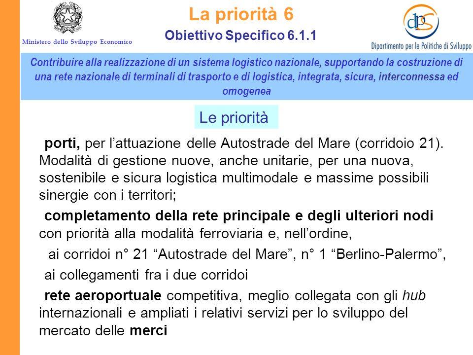 La priorità 6 Le priorità