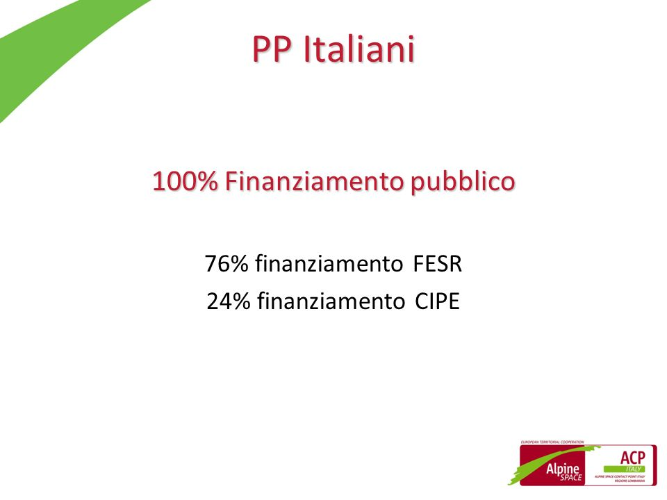 100% Finanziamento pubblico