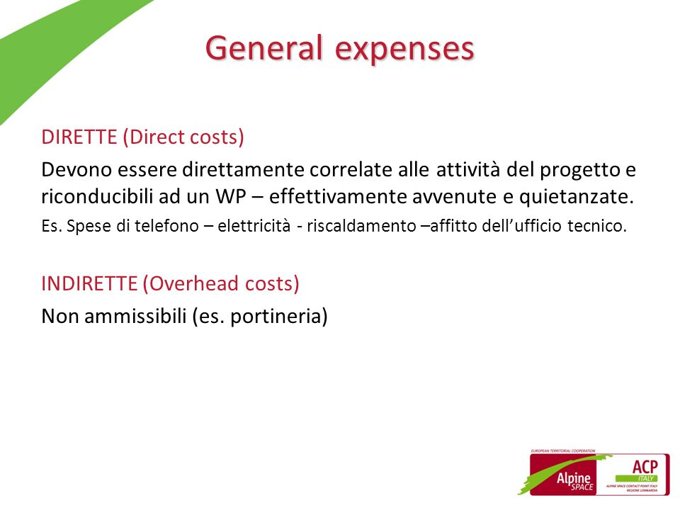 General expenses DIRETTE (Direct costs)