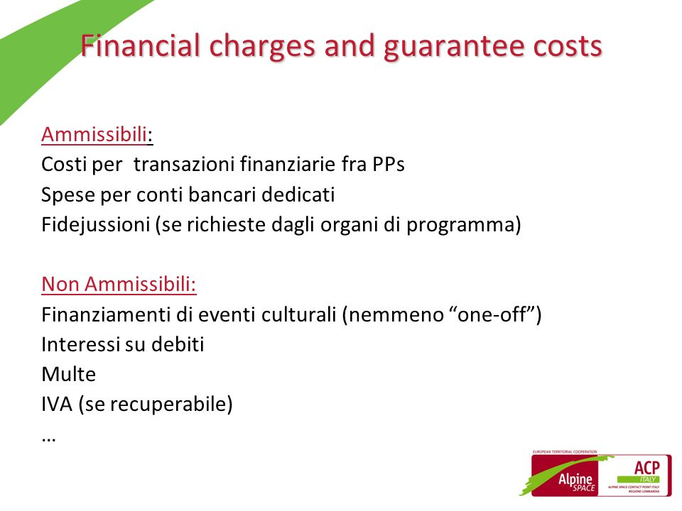 Financial charges and guarantee costs