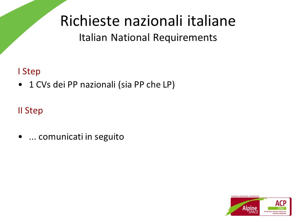 Richieste nazionali italiane Italian National Requirements