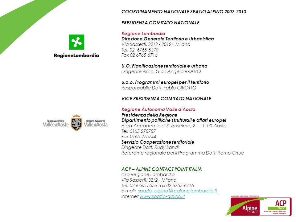 COORDINAMENTO NAZIONALE SPAZIO ALPINO 2007-2013