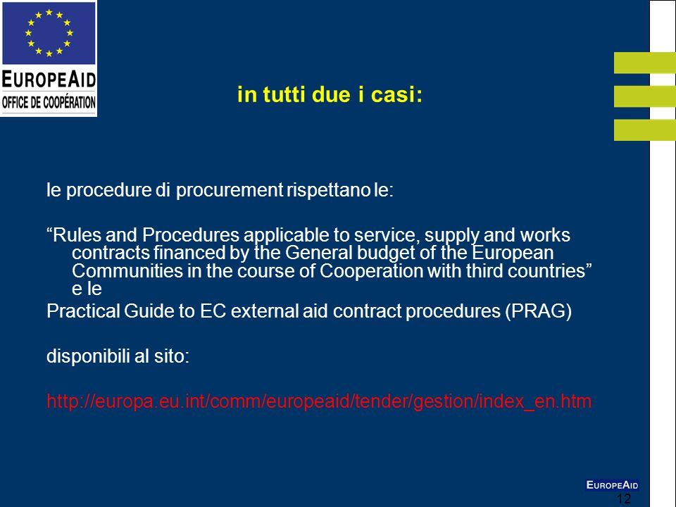 in tutti due i casi: le procedure di procurement rispettano le: