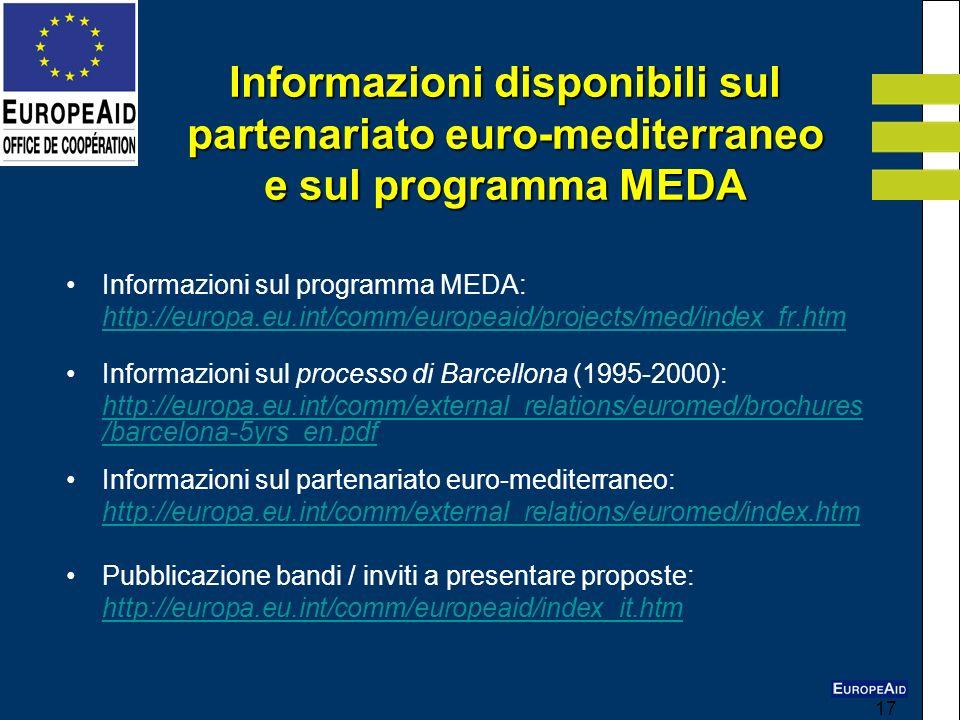 Informazioni disponibili sul partenariato euro-mediterraneo e sul programma MEDA
