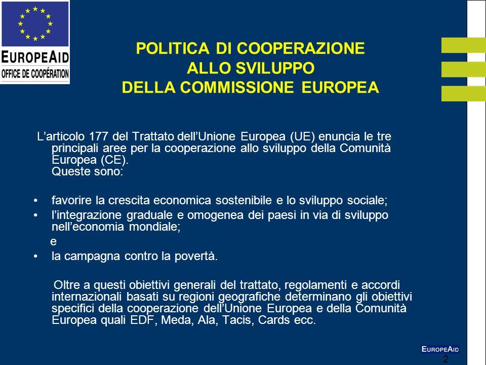 POLITICA DI COOPERAZIONE ALLO SVILUPPO DELLA COMMISSIONE EUROPEA