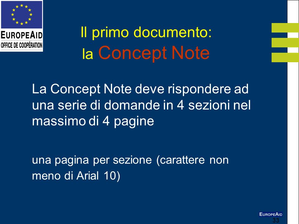 Il primo documento: la Concept Note