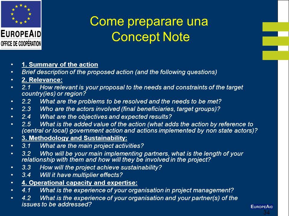 Come preparare una Concept Note