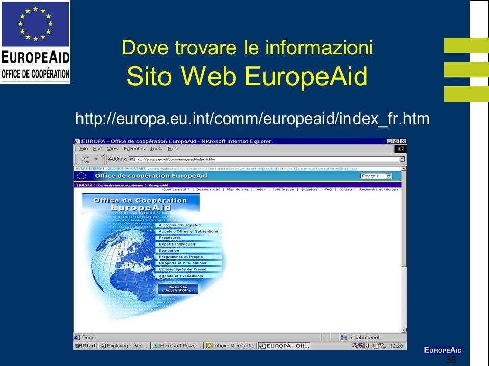 Dove trovare le informazioni Sito Web EuropeAid