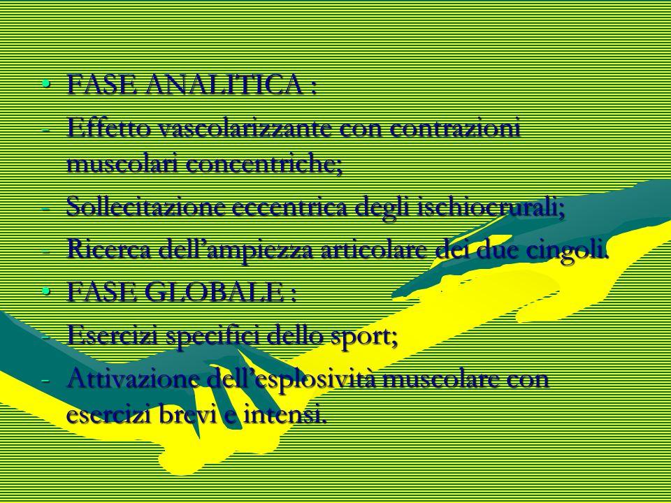 FASE ANALITICA : Effetto vascolarizzante con contrazioni muscolari concentriche; Sollecitazione eccentrica degli ischiocrurali;