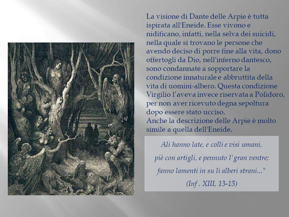 La visione di Dante delle Arpie è tutta ispirata all Eneide