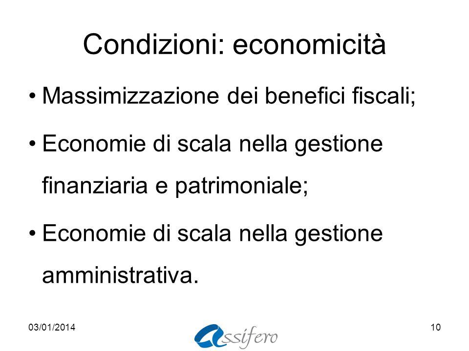 Condizioni: economicità