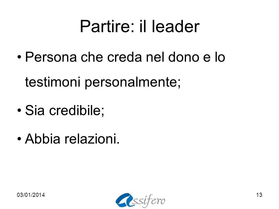 Partire: il leader Persona che creda nel dono e lo testimoni personalmente; Sia credibile; Abbia relazioni.