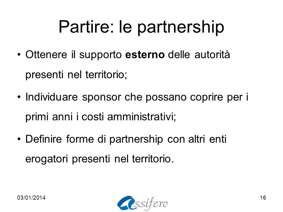 Partire: le partnership
