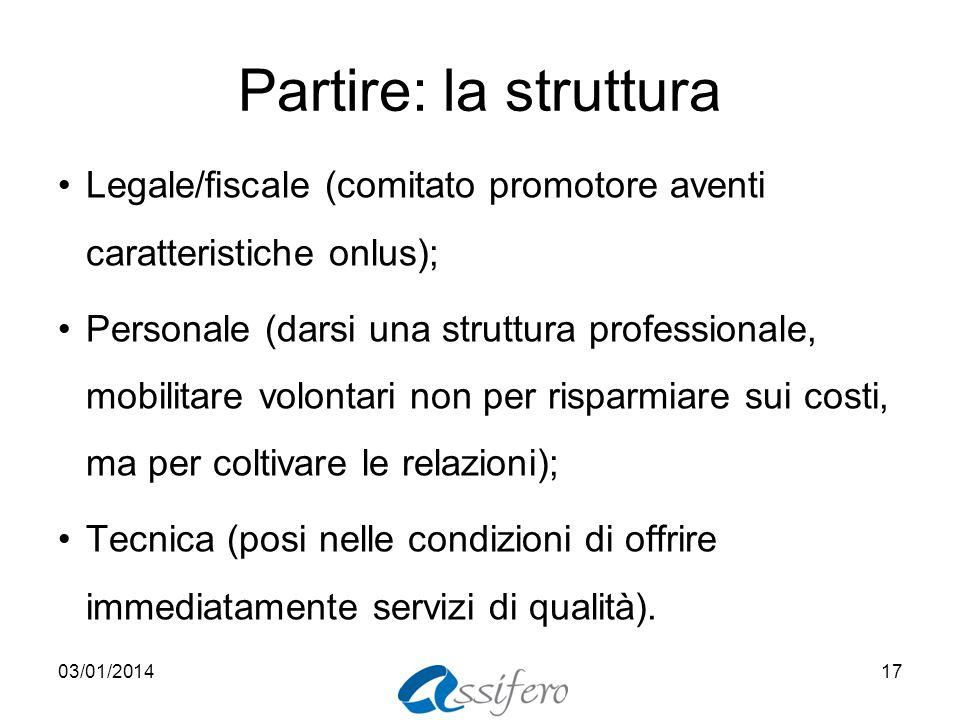 Partire: la struttura Legale/fiscale (comitato promotore aventi caratteristiche onlus);