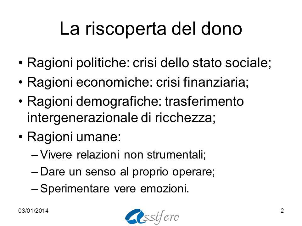 La riscoperta del dono Ragioni politiche: crisi dello stato sociale;