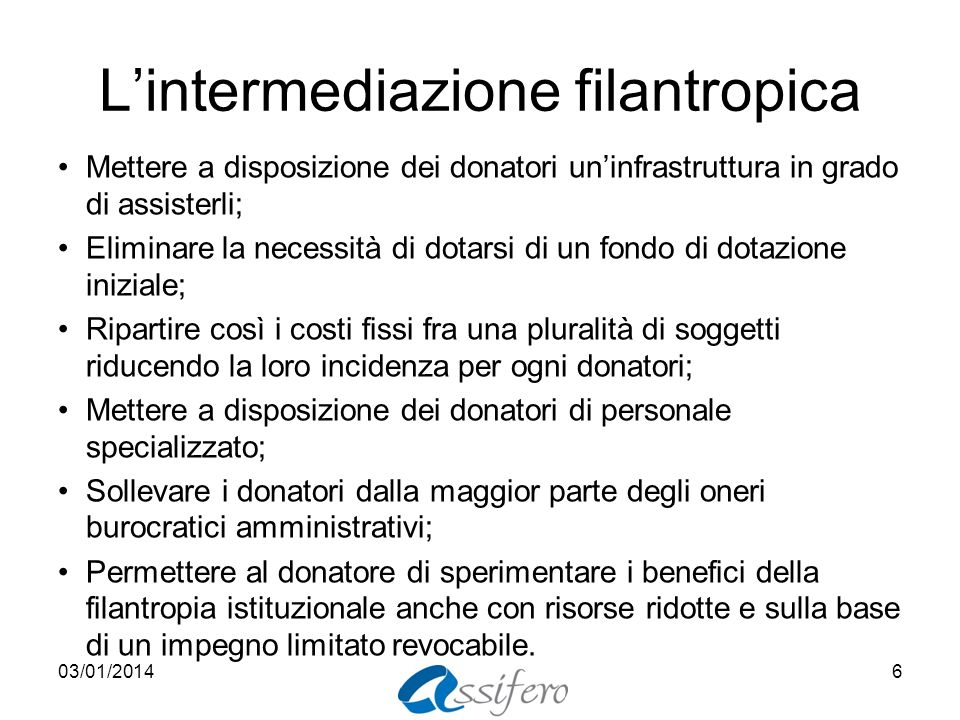 L'intermediazione filantropica