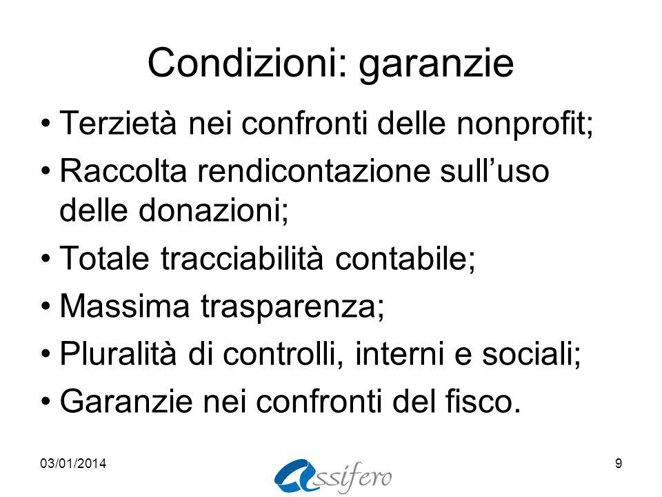 Condizioni: garanzie Terzietà nei confronti delle nonprofit;