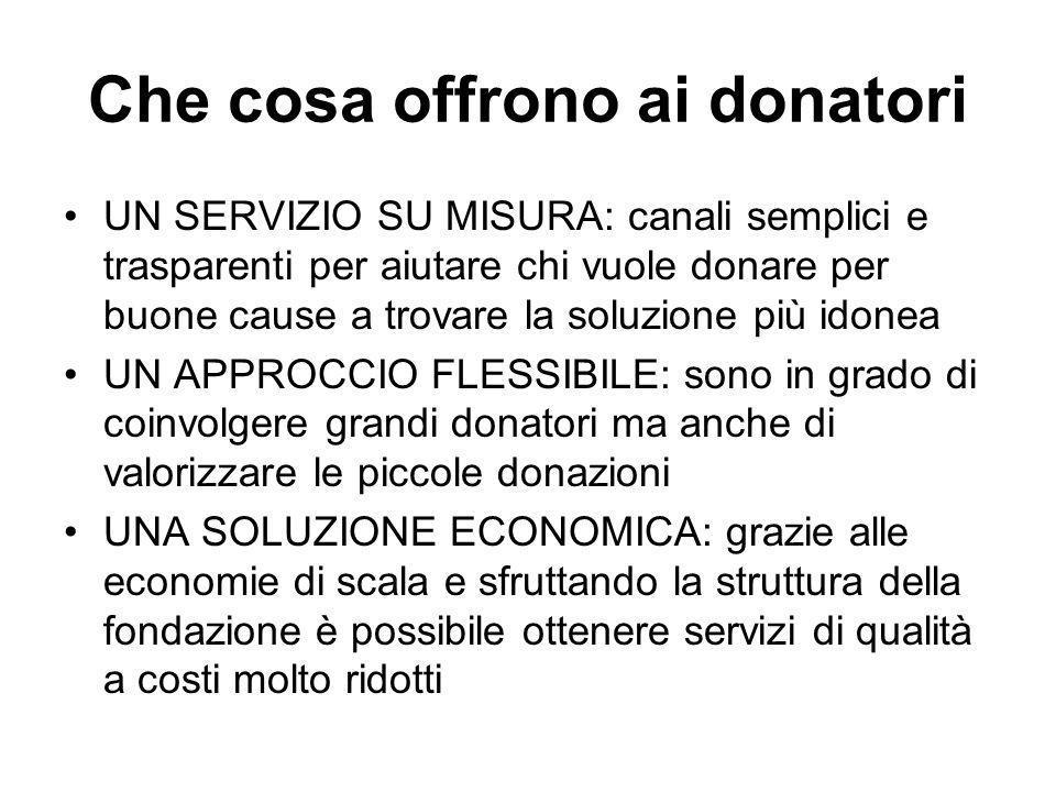 Che cosa offrono ai donatori