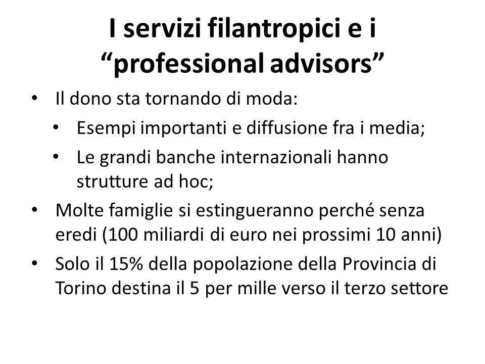 I servizi filantropici e i professional advisors