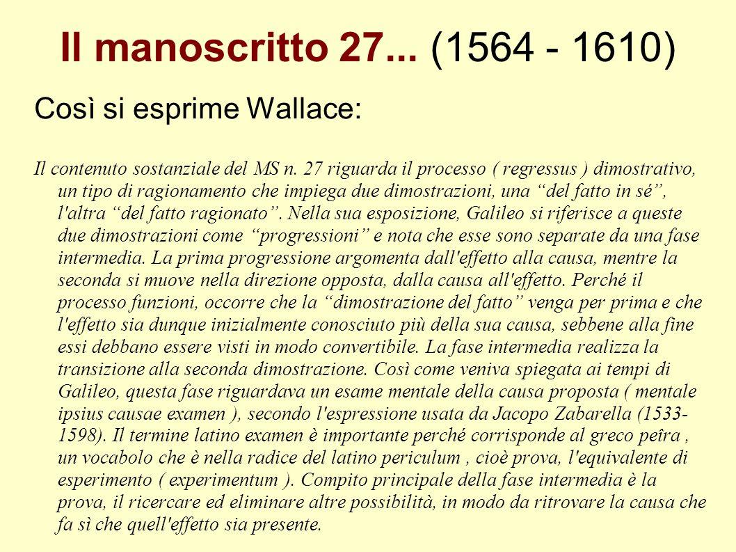 Il manoscritto 27... (1564 - 1610) Così si esprime Wallace: