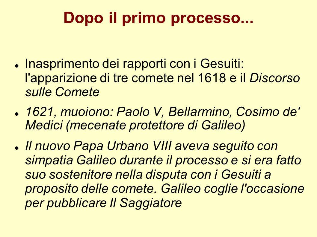 Dopo il primo processo... Inasprimento dei rapporti con i Gesuiti: l apparizione di tre comete nel 1618 e il Discorso sulle Comete.