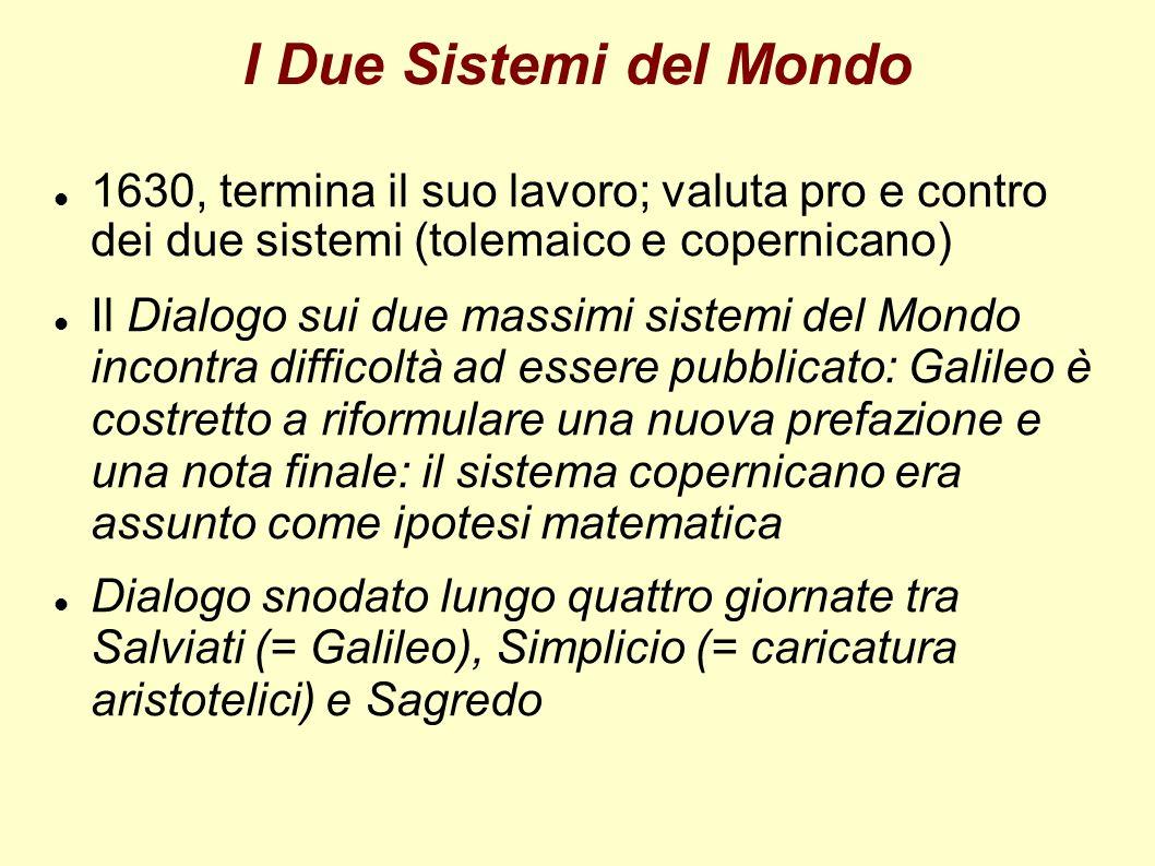 I Due Sistemi del Mondo 1630, termina il suo lavoro; valuta pro e contro dei due sistemi (tolemaico e copernicano)