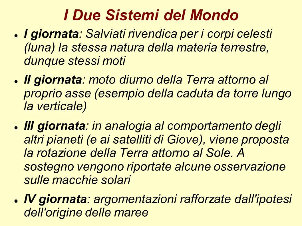 I Due Sistemi del Mondo I giornata: Salviati rivendica per i corpi celesti (luna) la stessa natura della materia terrestre, dunque stessi moti.