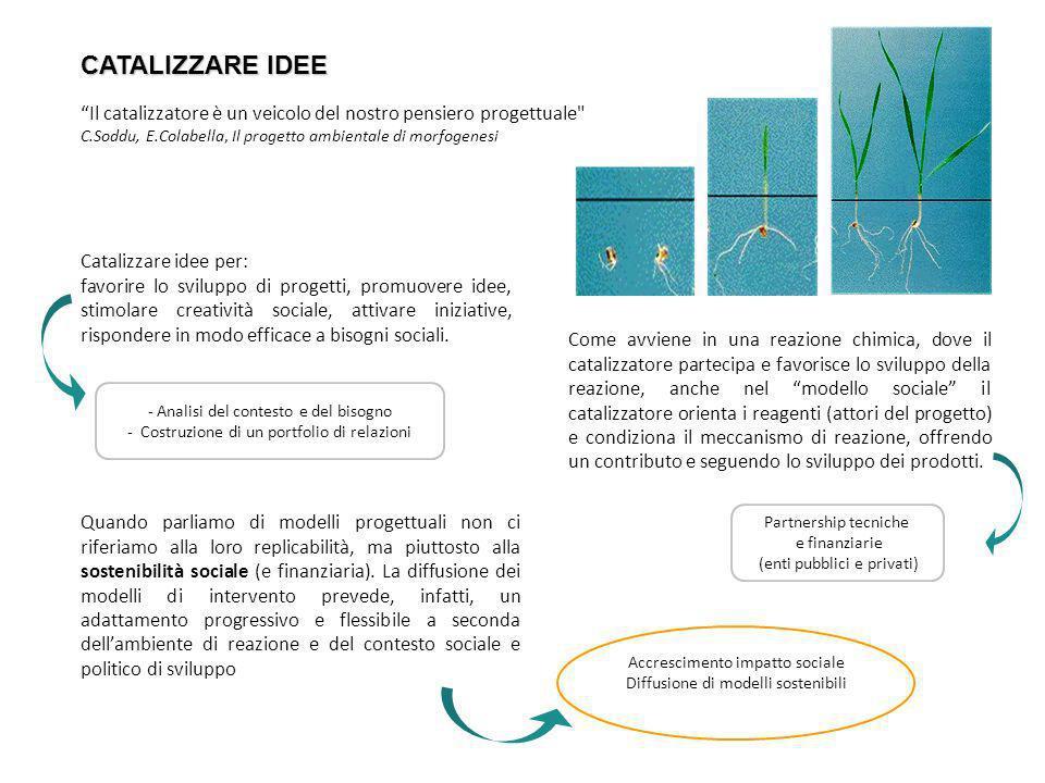 CATALIZZARE IDEE Il catalizzatore è un veicolo del nostro pensiero progettuale C.Soddu, E.Colabella, Il progetto ambientale di morfogenesi.