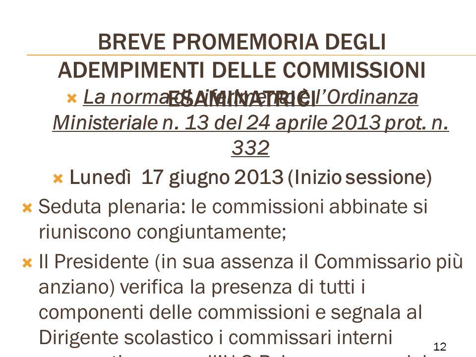 BREVE PROMEMORIA DEGLI ADEMPIMENTI DELLE COMMISSIONI ESAMINATRICI