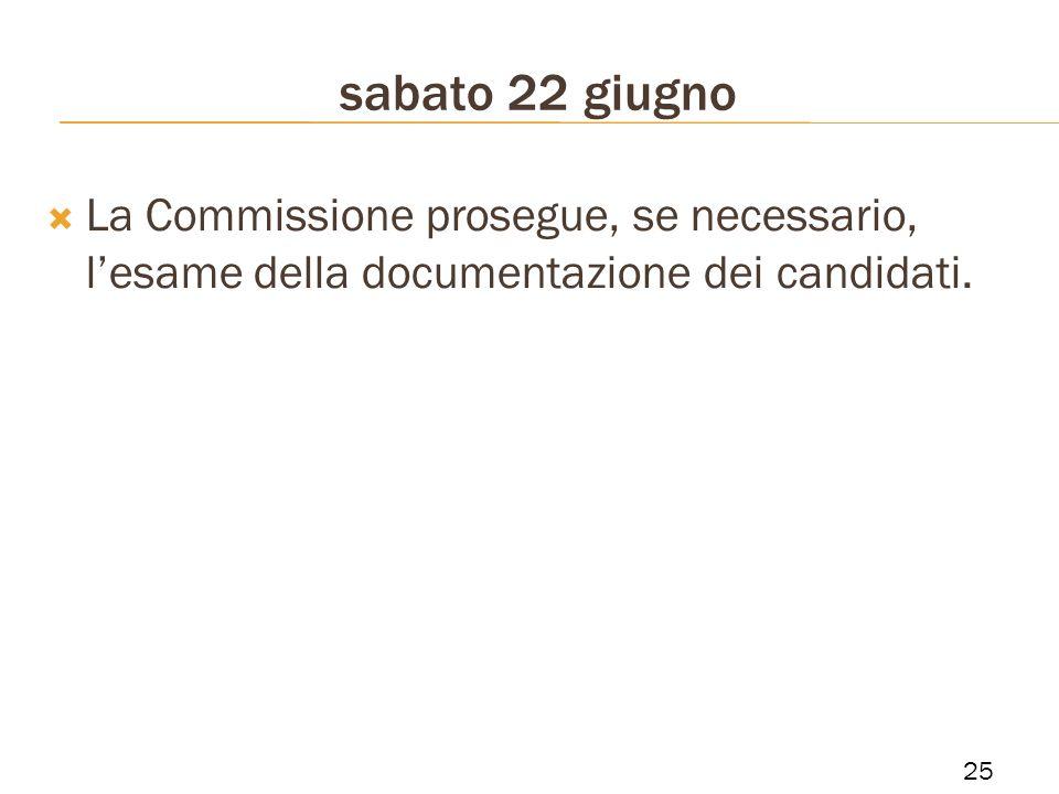 sabato 22 giugno La Commissione prosegue, se necessario, l'esame della documentazione dei candidati.