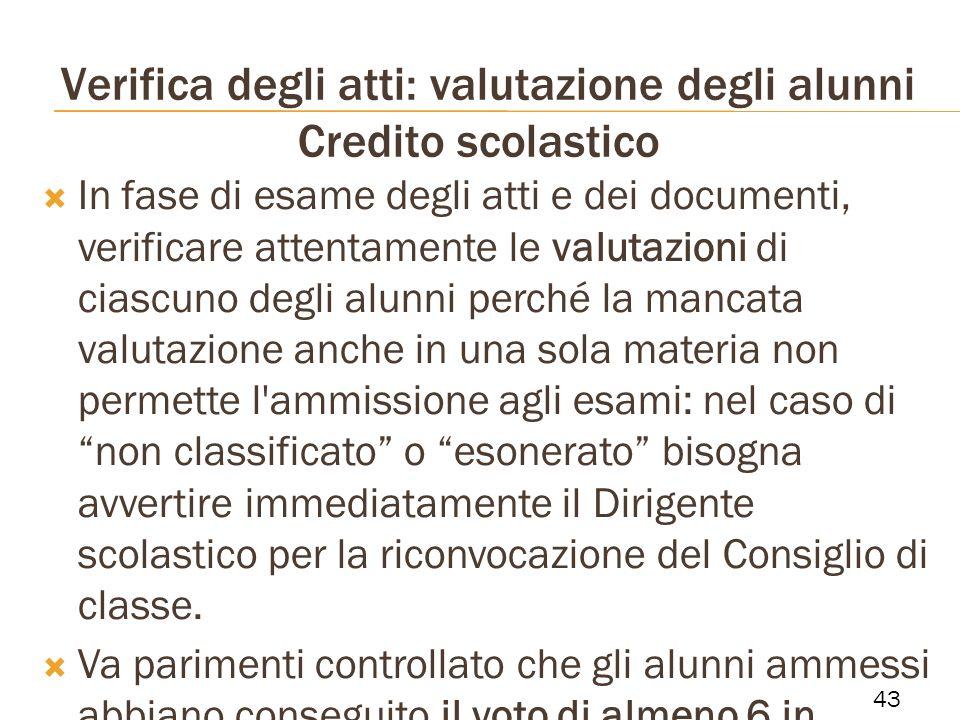Verifica degli atti: valutazione degli alunni Credito scolastico